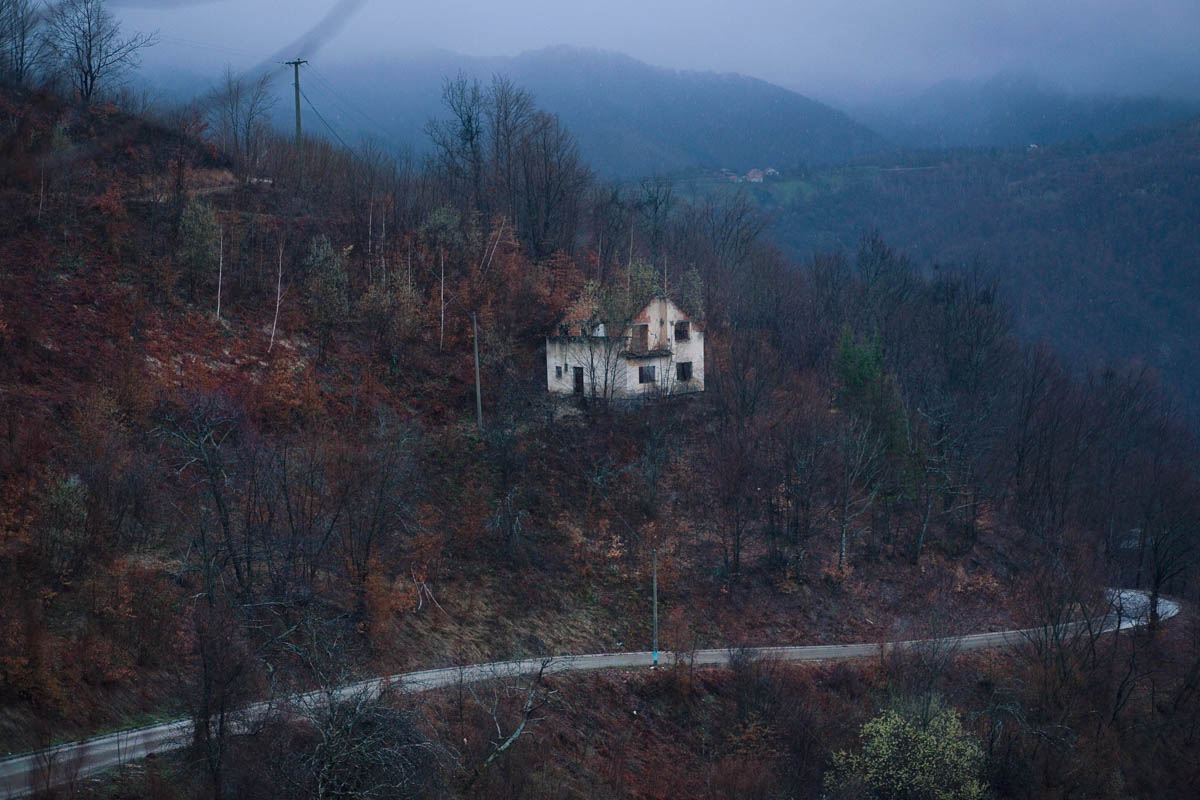 As Night Falls - Night falls over the wooded hills surrounding Srebrenica.  Eastern Bosnia, March 2013 - Copyright © © S. Borcard - N. Metraux -