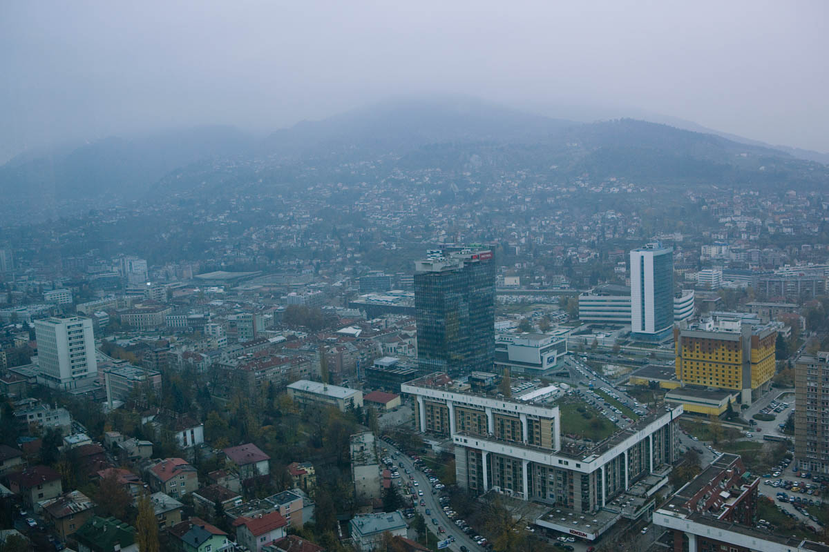 Sarajevo cityscape - Cityscape from the roof terrace of the Awaz tower, the tallest building in the country. Sarajevo, November 2013 - Copyright © © S. Borcard - N. Metraux -