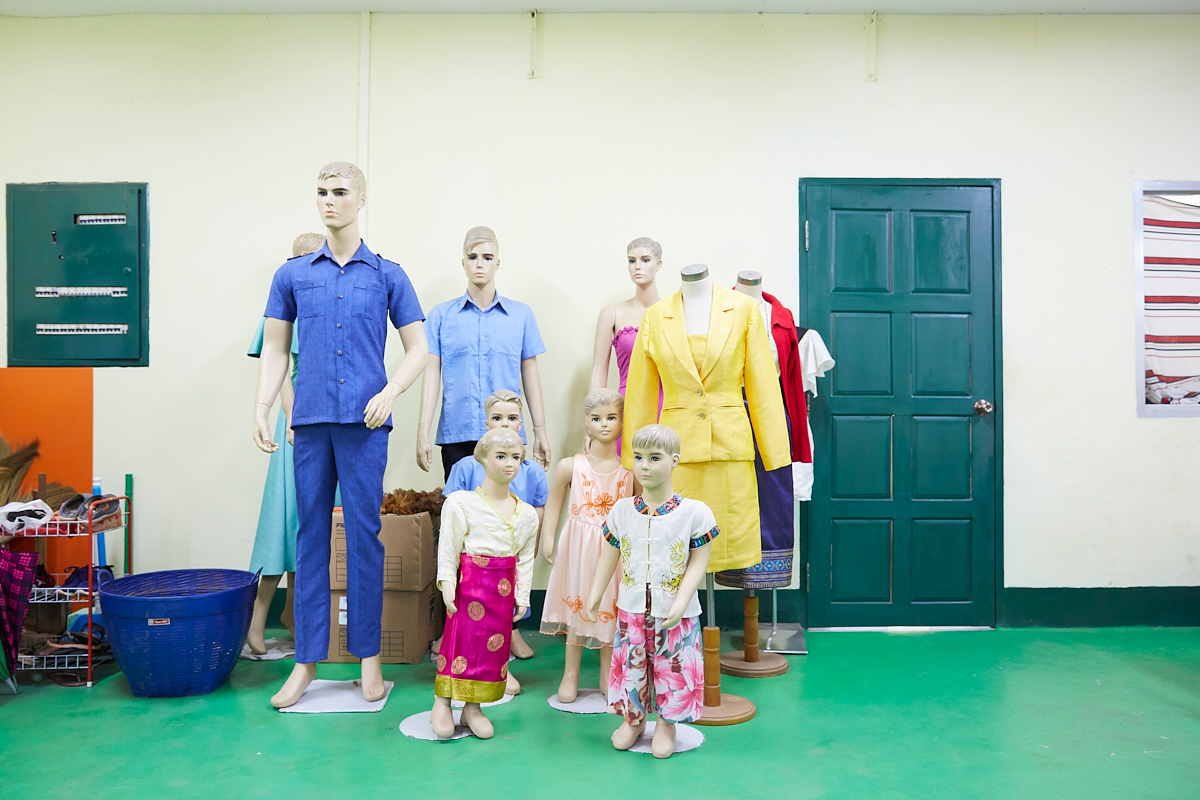 Typical Lao garment shown on mannequins at the Lao-Korea Vocational training Center in Vientiane. Vientiane, Laos, November 2018.